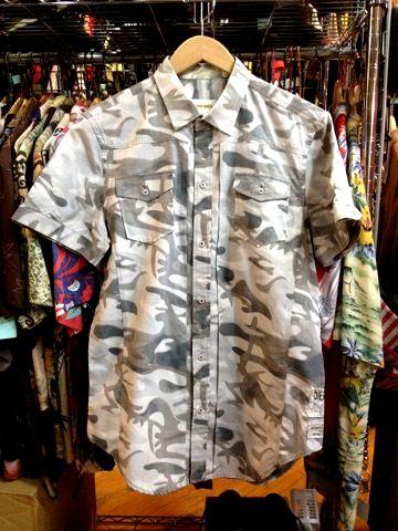 DIESEL ディーゼル 迷彩柄 半袖ボタンシャツ L